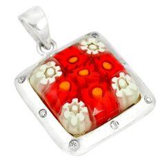 Multi color italian murano glass topaz 925 silver pendant jewelry c21745