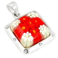 Multi color italian murano glass topaz 925 silver pendant jewelry c21746