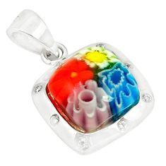 Multi color italian murano glass topaz 925 sterling silver pendant c21714