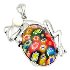 Multi color italian murano glass white pearl 925 silver frog pendant c21625
