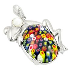 Multi color italian murano glass white pearl 925 silver frog pendant c21627