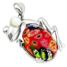 Multi color italian murano glass white pearl 925 silver frog pendant c22558