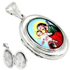 Multi color jesus baby cameo 925 sterling silver locket pendant c22628