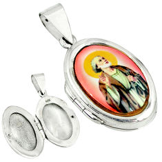 Multi color jesus cameo 925 sterling silver locket pendant jewelry c22608