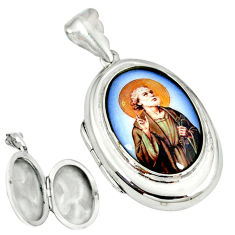 Multi color jesus cameo 925 sterling silver locket pendant jewelry c22623