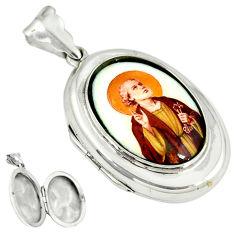 Multi color jesus cameo 925 sterling silver locket pendant jewelry c22640
