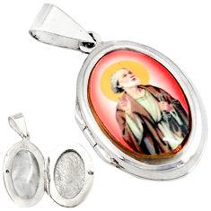 Multi color jesus cameo 925 sterling silver prayer box pendant jewelry c22614