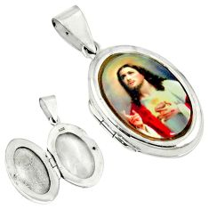 Multi color jesus cameo oval 925 sterling silver locket pendant jewelry c22658