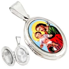 Multi color jesus with baby cameo 925 silver prayer box pendant jewelry c26114