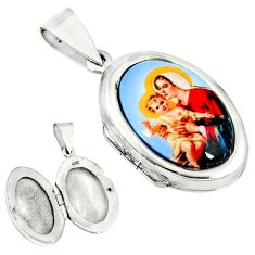 Multi color mother baby love cameo 925 silver locket pendant jewelry c22603