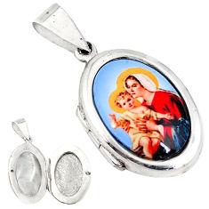 Multi color mother baby love cameo 925 silver prayer box pendant jewelry c22601