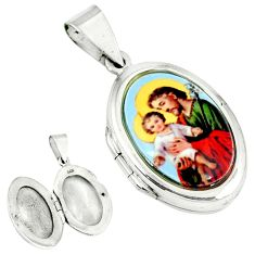 Multi color mother baby love cameo 925 sterling silver locket pendant c22609