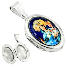 Multi color mother baby love cameo 925 sterling silver locket pendant c22654