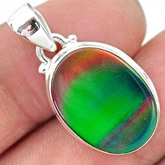 6.57cts multi color northern lights aurora opal (lab) 925 silver pendant t16792