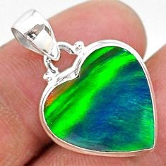 6.55cts multi color northern lights aurora opal (lab) 925 silver pendant t16844