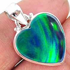 7.18cts multi color northern lights aurora opal (lab) 925 silver pendant t16854