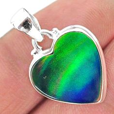 6.47cts multi color northern lights aurora opal (lab) 925 silver pendant t16876