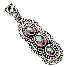 Clearance Sale- 3.98cts multi color rainbow topaz 925 sterling silver pendant jewelry d44834