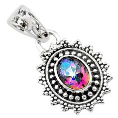 2.11cts multi color rainbow topaz 925 sterling silver pendant jewelry t30493