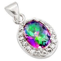 4.16cts multi color rainbow topaz white topaz 925 silver pendant jewelry c9735