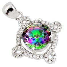 7.13cts multi color rainbow topaz white topaz 925 silver pendant jewelry c9736