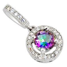 2.49cts multi color rainbow topaz white topaz 925 silver pendant jewelry c9739