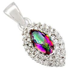 3.37cts multi color rainbow topaz white topaz 925 sterling silver pendant c9728