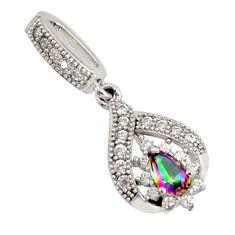 1.73cts multi color rainbow topaz white topaz 925 sterling silver pendant c9734