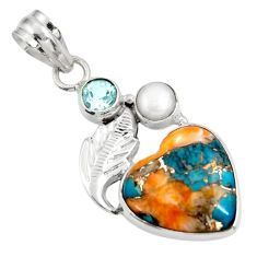 11.26cts multi color spiny oyster arizona turquoise 925 silver pendant d39479