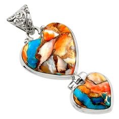 19.23cts multi color spiny oyster arizona turquoise 925 silver pendant d41762