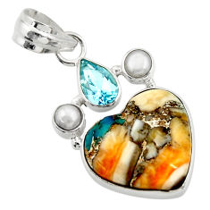 12.18cts multi color spiny oyster arizona turquoise 925 silver pendant d41768