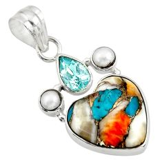 11.69cts multi color spiny oyster arizona turquoise 925 silver pendant d41769