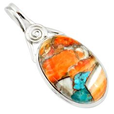 19.72cts multi color spiny oyster arizona turquoise 925 silver pendant r20033