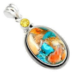 22.02cts multi color spiny oyster arizona turquoise 925 silver pendant r20038