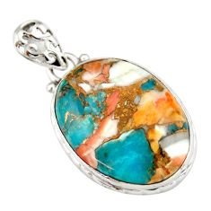 17.22cts multi color spiny oyster arizona turquoise 925 silver pendant r20039
