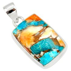 16.18cts multi color spiny oyster arizona turquoise 925 silver pendant r36489