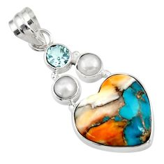 11.26cts multi color spiny oyster arizona turquoise silver heart pendant d41766