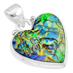 8.12cts multi color sterling opal 925 sterling silver heart pendant r92521