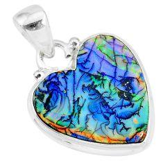 7.63cts multi color sterling opal 925 sterling silver heart pendant r92567