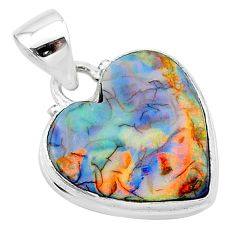 6.59cts multi color sterling opal 925 sterling silver heart pendant t13765
