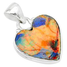 6.61cts multi-color sterling opal 925 sterling silver heart pendant t13767