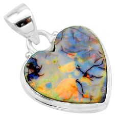 6.50cts multi color sterling opal 925 sterling silver heart pendant t13797