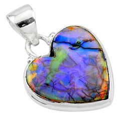 6.25cts multi-color sterling opal 925 sterling silver heart pendant t13802