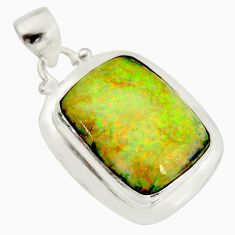 13.09cts multi color sterling opal 925 sterling silver pendant jewelry r25255