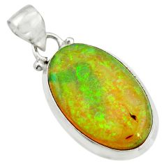 9.73cts multi color sterling opal 925 sterling silver pendant jewelry r25298
