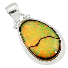 11.25cts multi color sterling opal 925 sterling silver pendant jewelry r27364
