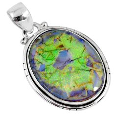11.25cts multi color sterling opal 925 sterling silver pendant jewelry r58751