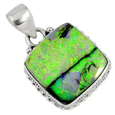 8.91cts multi color sterling opal 925 sterling silver pendant jewelry r58769