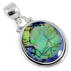 7.85cts multi color sterling opal 925 sterling silver pendant jewelry r58794