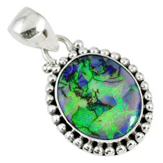 6.45cts multi color sterling opal 925 sterling silver pendant jewelry r58822